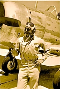 Robert Balancia, World War II Navy pilot, flew off aircraft carriers, also liked to strike the famous pose.