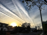 Chemtrails over Beverly Hills on Passover sunset. - Photo © 2016 Donna Balancia